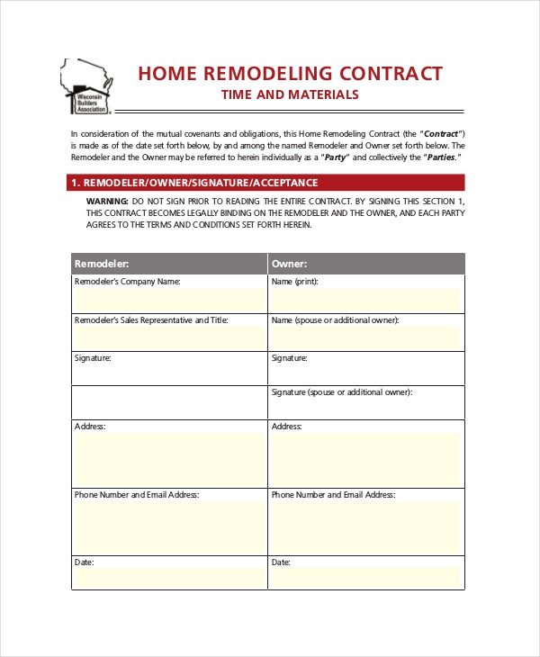 Home Remodeling Contract Template 33 Contract Templates Word Docs Pages