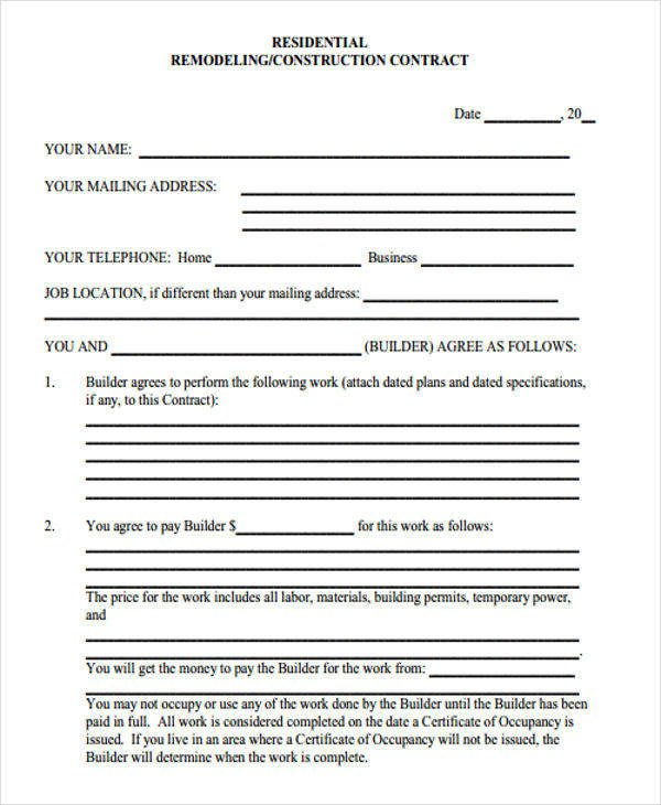 Home Remodeling Contract Template 7 Construction Contract Templates – Word Google Docs