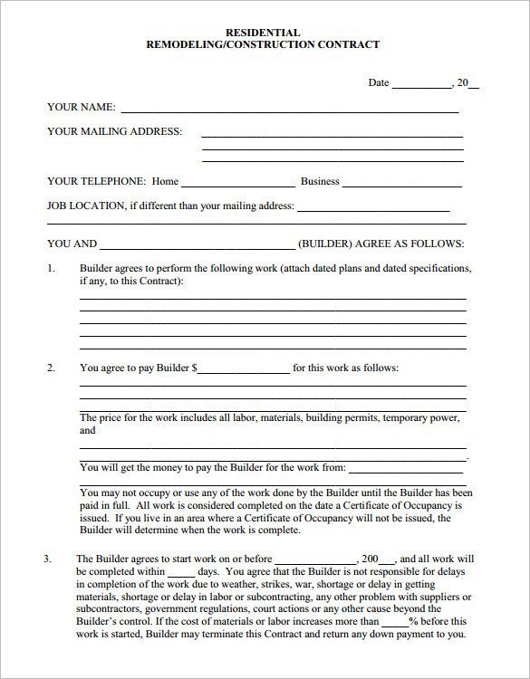 Home Remodeling Contract Template 9 Home Remodeling Contract Templates Word Pages Docs