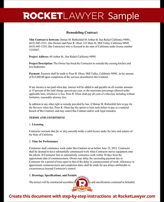 Home Remodeling Contract Template Home Remodeling Contract form with Sample