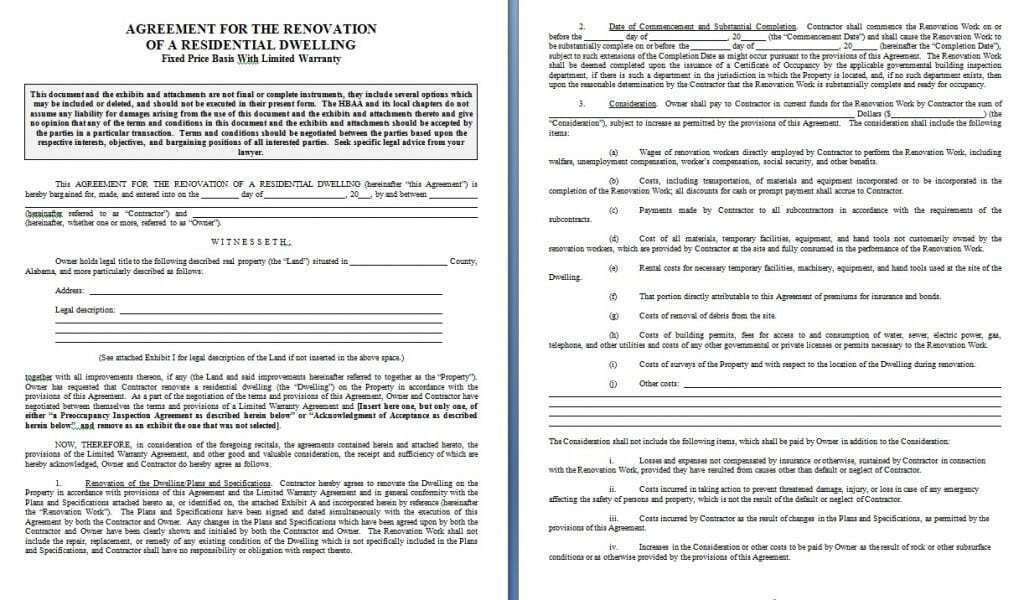 Home Remodeling Contract Template Renovation Contract