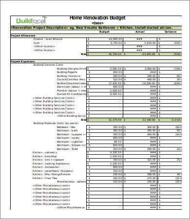 Home Remodeling Cost Estimate Template 4 Renovation Bud Template