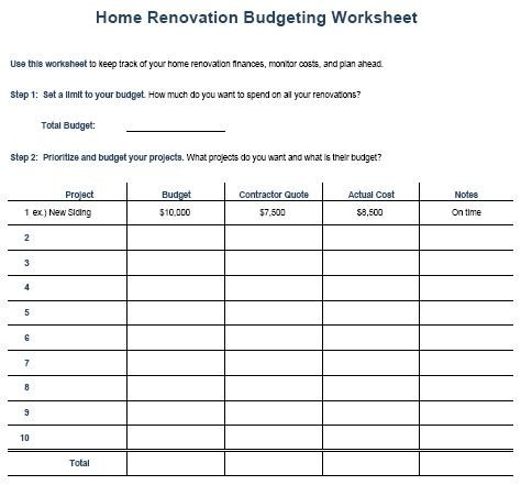 Home Remodeling Cost Estimate Template Kitchen Remodel Bud Template