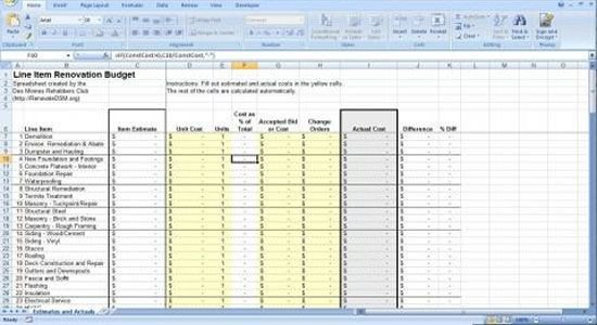 Home Remodeling Cost Estimate Template Renovation Construction Bud Spreadsheet Implementing
