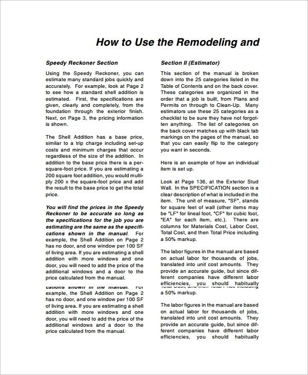 Home Remodeling Cost Estimate Template Sample Remodeling Estimate 8 Documents In Word Pdf