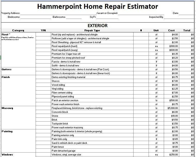 Home Repair Estimate Template 12 Free Sample Home Repair Estimate Templates Printable