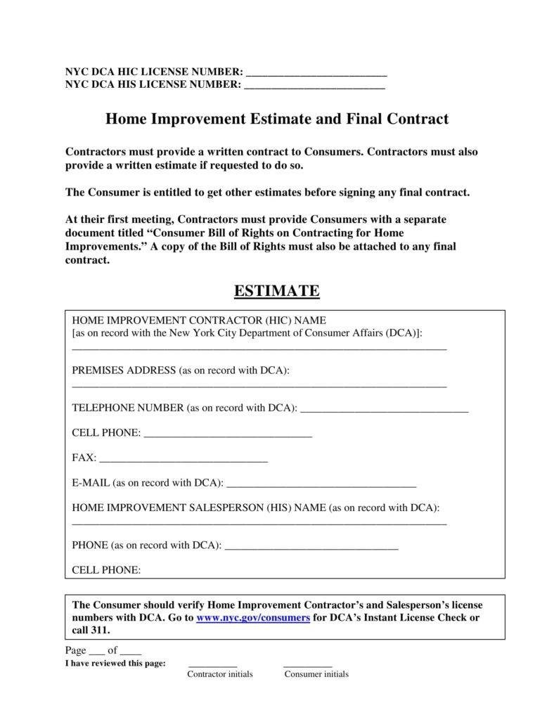 Home Repair Estimate Template 7 Home Repair Contract Templates Docs Word Pages
