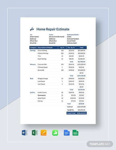 Home Repair Estimate Template Motorcycle Repair Estimate Template In Microsoft Word