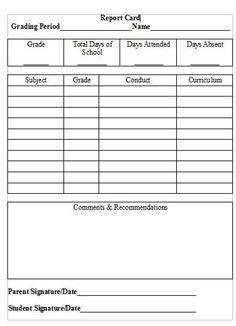 Homeschool Report Card Template Free 25 Best Homeschool Grade Cards Images On Pinterest