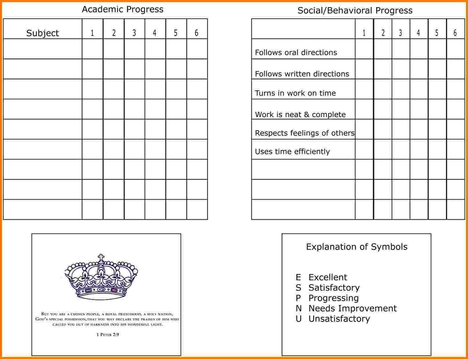Homeschool Report Card Template Free 7 Homeschool Report Card Template