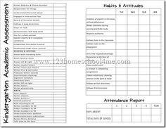 Homeschool Report Card Template Free Report Cards Kindergarten On Pinterest