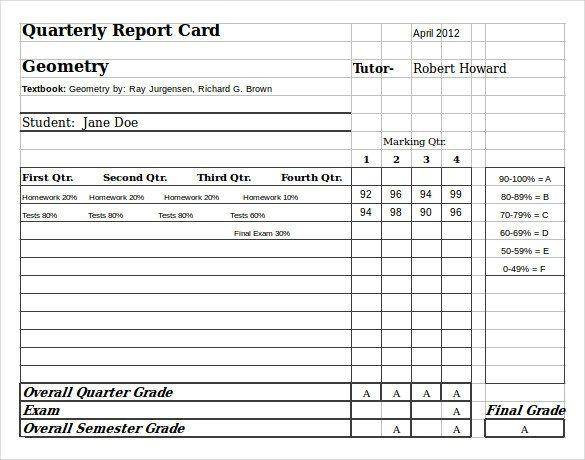 Homeschool Report Card Template Free Sample Homeschool Report Card 7 Documents In Pdf Word