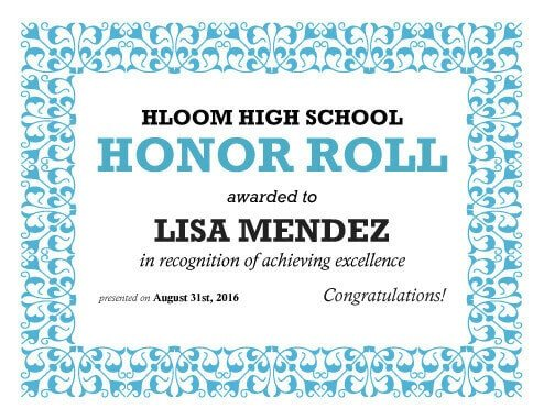 Honor Roll Certificate Template 27 Printable Award Certificates [achievement Merit Honor]