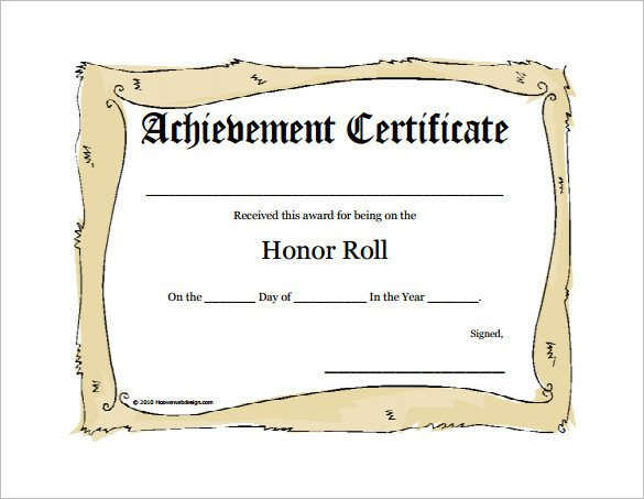 Honor Roll Certificate Template 8 Printable Honor Roll Certificate Templates & Samples