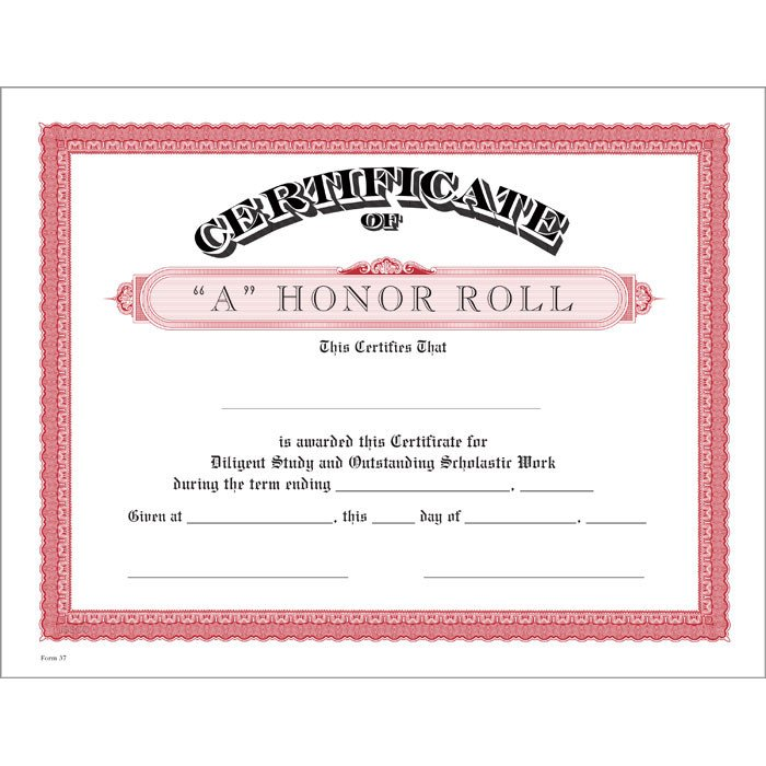 Honor Roll Certificate Template A Honor Roll Red Certificate Jones School Supply