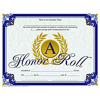 Honor Roll Certificate Template Amazon A Honor Roll Certificate Gold Laurel Leaves