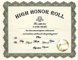 Honor Roll Certificate Template Awards Free Templates Clip Art & Wording