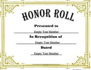 Honor Roll Certificate Template Honor Roll 3 · Certificate Creator Create and Print
