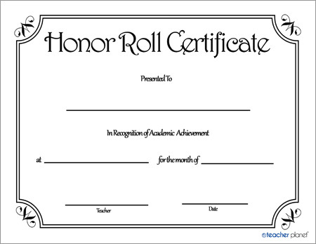 Honor Roll Certificate Template Honor Roll Certificate 3