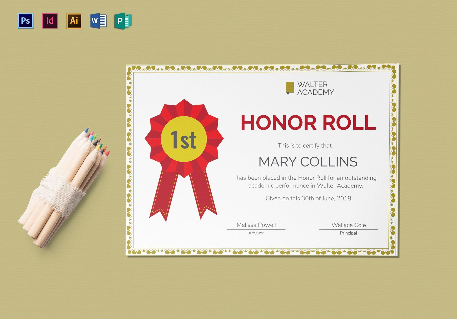 Honor Roll Certificate Template Honor Roll Certificate Design Template In Psd Word