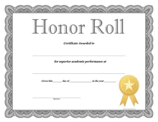 Honor Roll Certificate Template Honor Roll Certificate Free Printable Allfreeprintable