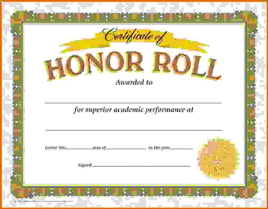 Honor Roll Certificate Template Honor Roll Certificate Template