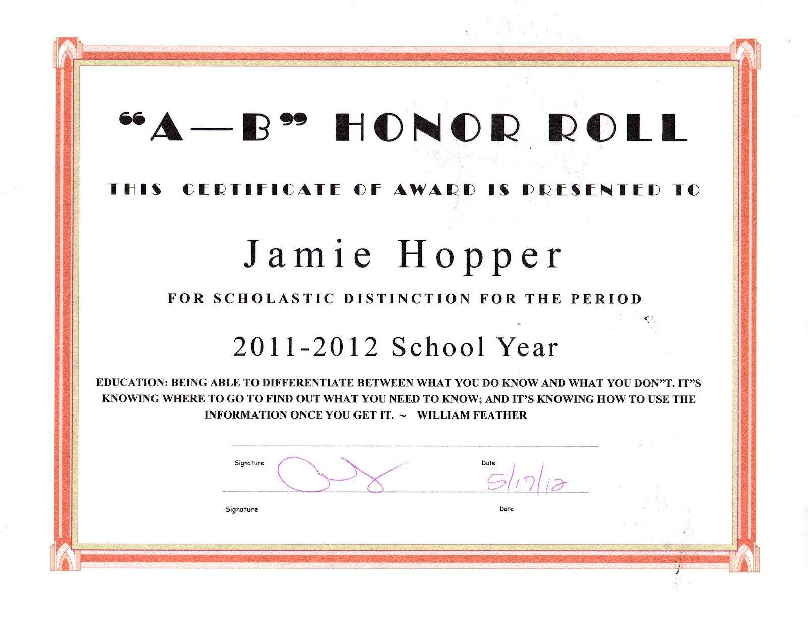 Honor Roll Certificate Template the Jason Hopper Family June 2012