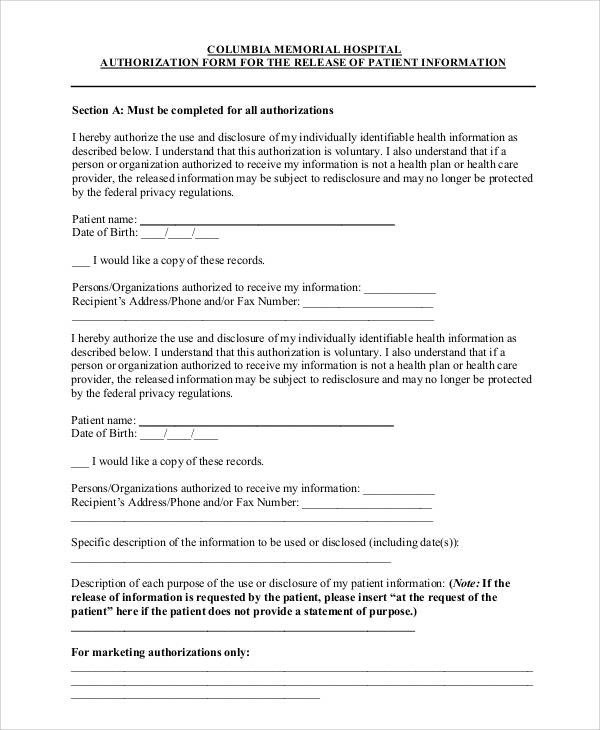 Hospital Release form Template 47 Printable Release form Samples & Templates Pdf Doc