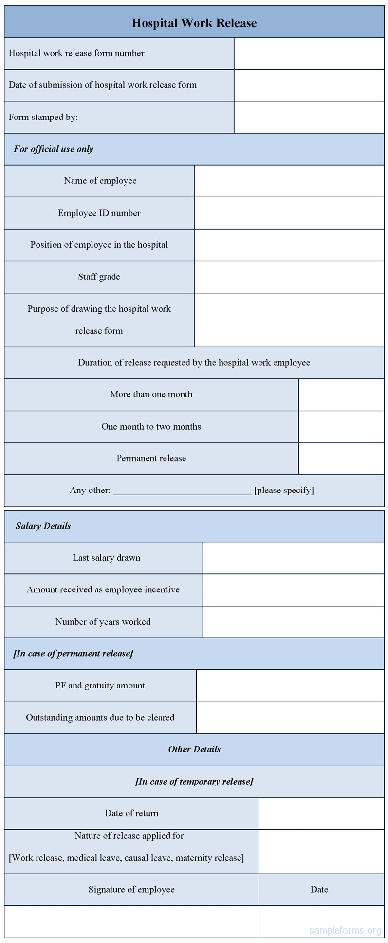Hospital Release form Template Hospital Work Release form Sample forms