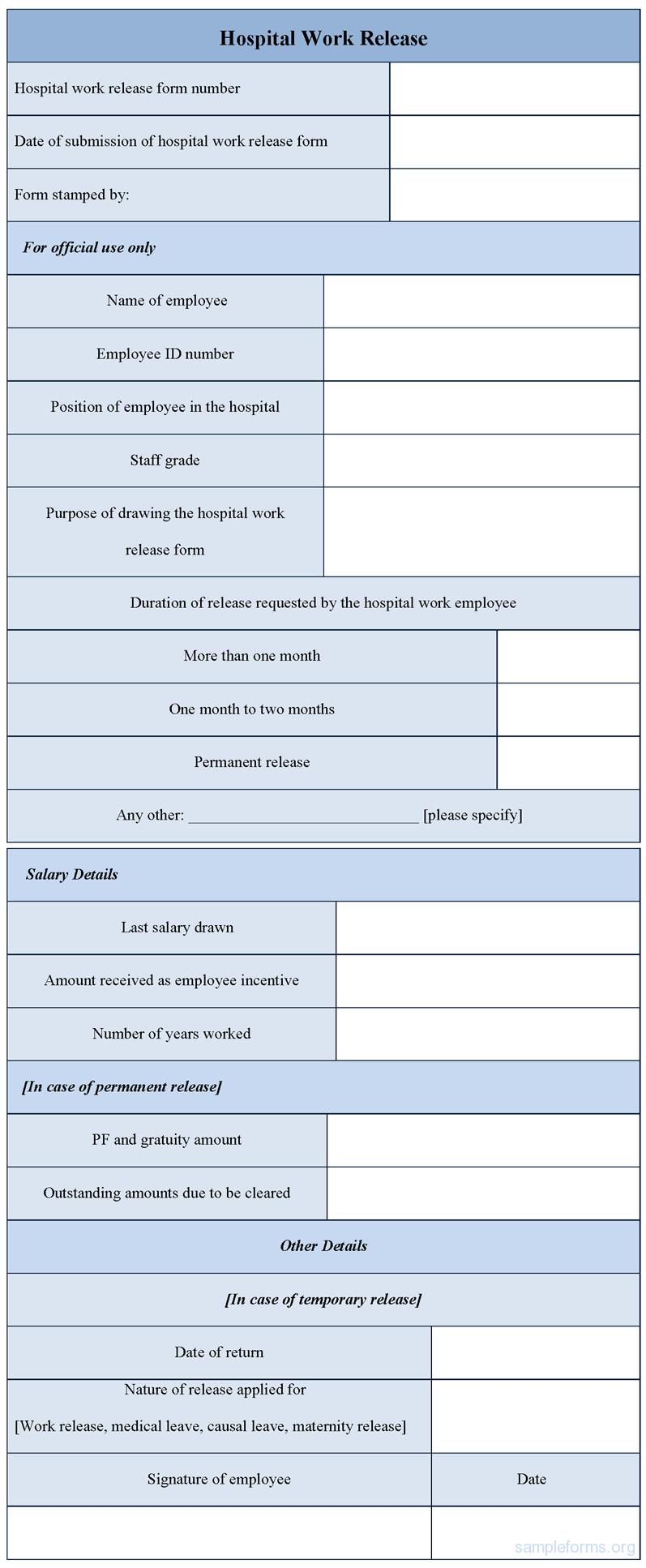 Hospital Release form Template Hospital Work Release form Sample forms