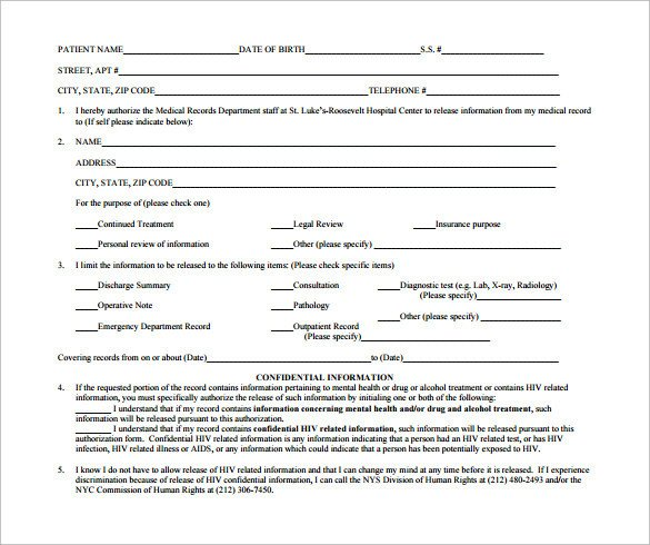 Hospital Release form Template Sample Hospital Release form 11 Download Free Documents