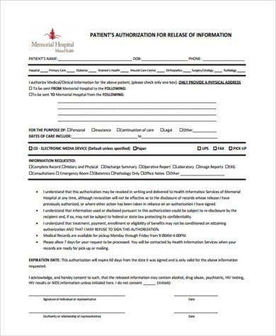 Hospital Release form Template Sample Hospital Release forms 8 Free Documents In Word Pdf