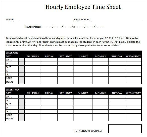 Hourly Chart Template 11 Hourly Timesheet Calculators – 11 Free Sample
