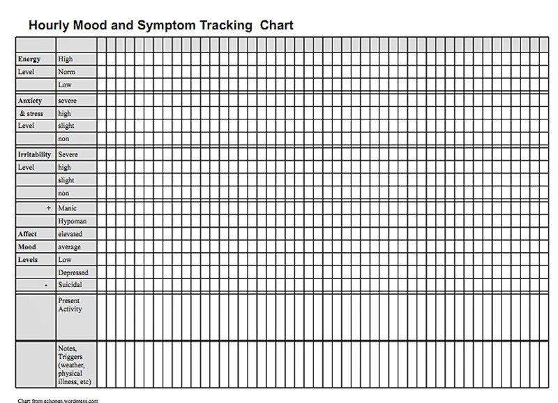 Hourly Chart Template Hourly Mood and Symptom Chart