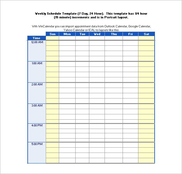 Hourly Chart Template Hourly Schedule Template Excel