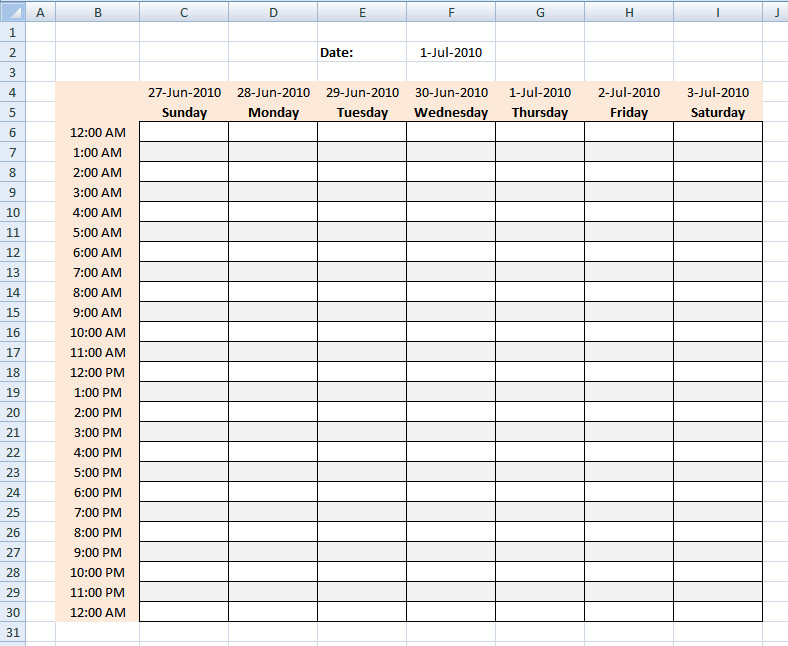 Hourly Chart Template Hourly Schedule Template Excel Template