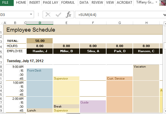 Hourly Schedule Template Excel Employee Schedule & Hourly Increment Template for Excel