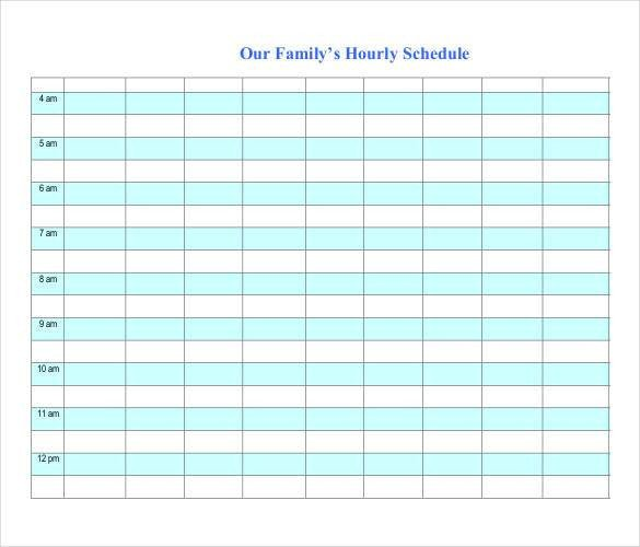 Hourly Schedule Template Excel Hourly Schedule Template 34 Free Word Excel Pdf