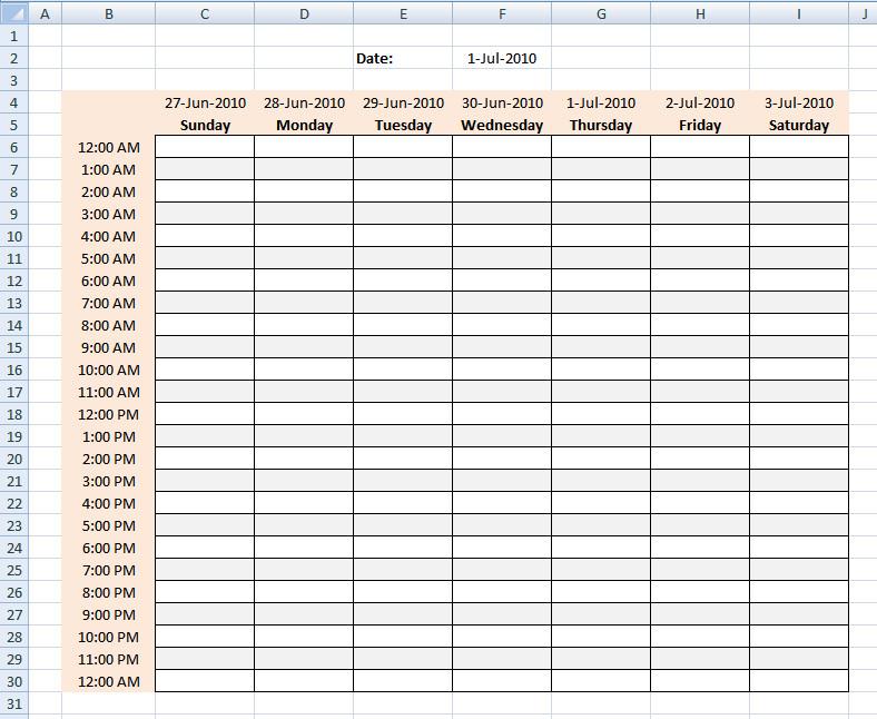Hourly Schedule Template Excel Hourly Schedule Template Excel Template
