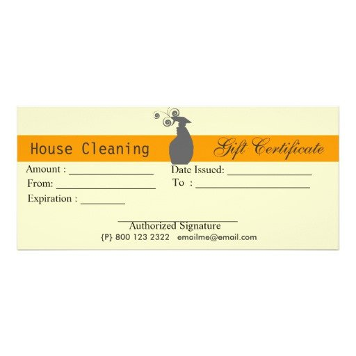 House Cleaning Gift Certificate Template House Cleaning Housekeeping Gift Certificate Rack Card