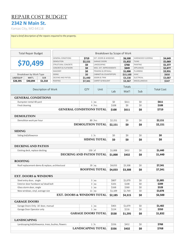 House Flipping Budget Spreadsheet Template House Flipping Spreadsheet Rehabbing and House Flipping