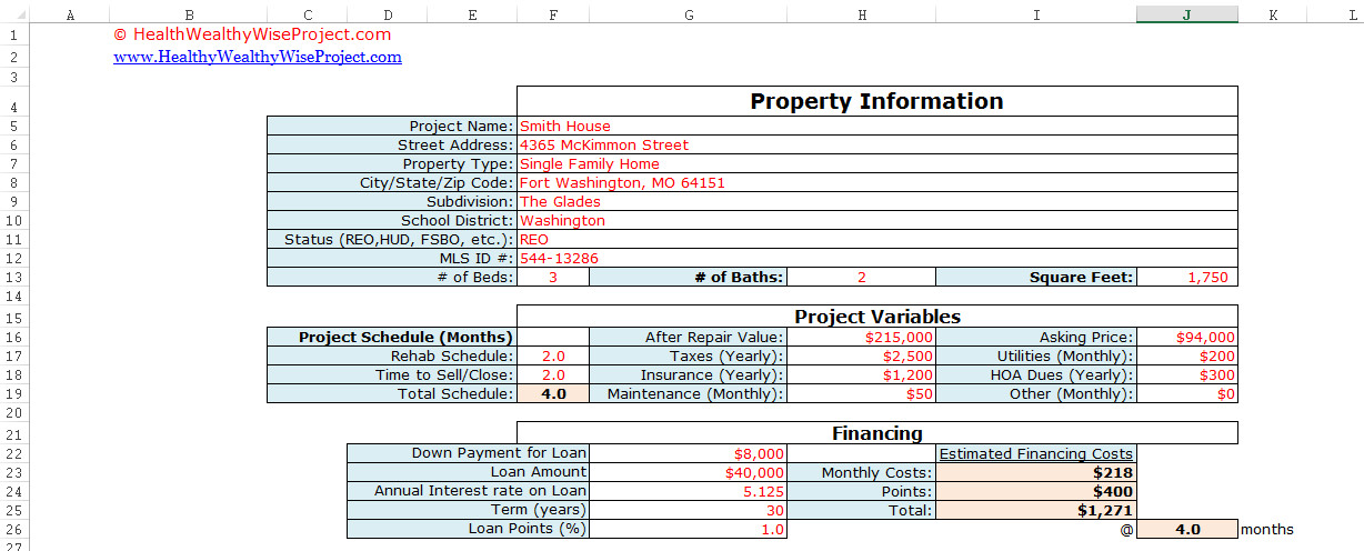 House Flipping Excel Template House Flipping Excel Spreadsheet