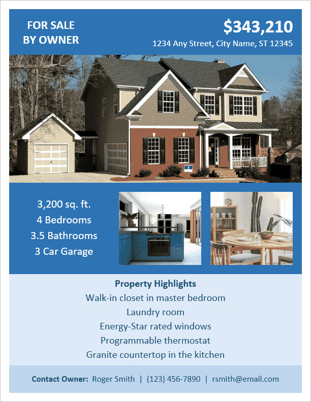House for Sale Flyer Fsbo Flyer Template for Word