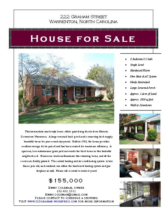House for Sale Flyer Graphic Design