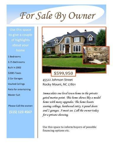 House for Sale Flyer Template for Sale by Owner Free Flyer Template by Hloom