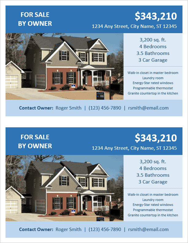 House for Sale Flyer Template Fsbo Flyer Template for Word