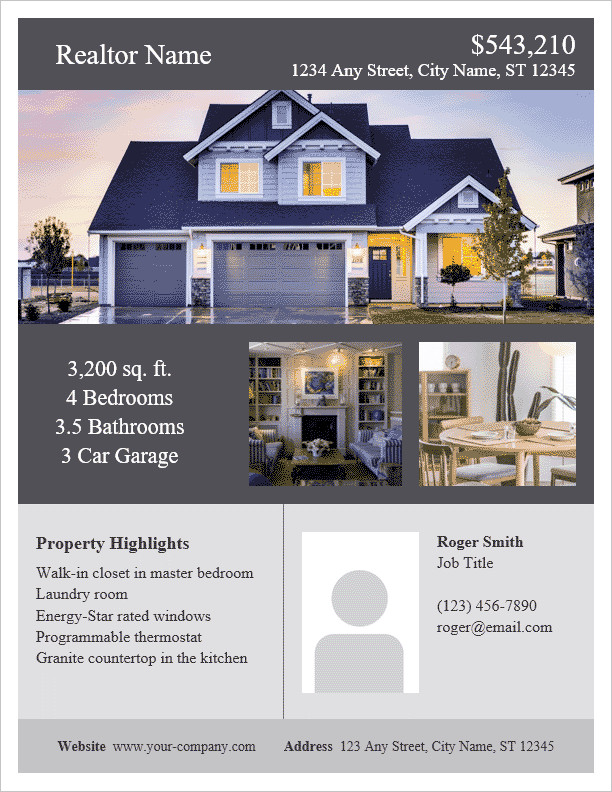 House for Sale Flyer Template Real Estate Flyer Template for Word
