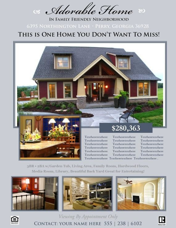 House for Sale Flyer Template Real Estate Flyer Template Microsoft Publisher Template