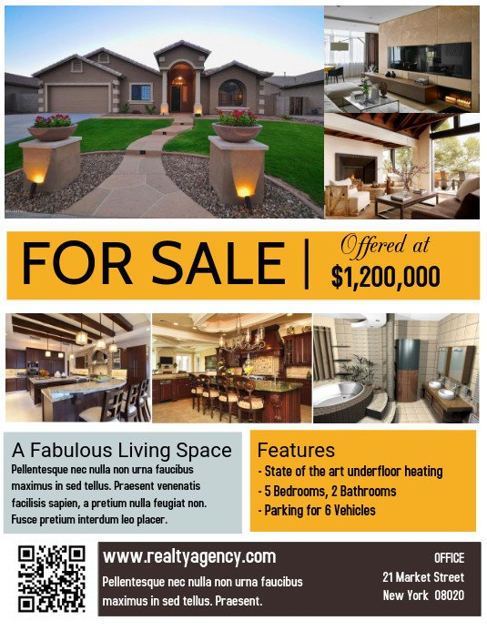 House for Sale Flyer Template Real Estate House for Sale Poster Flyer Template