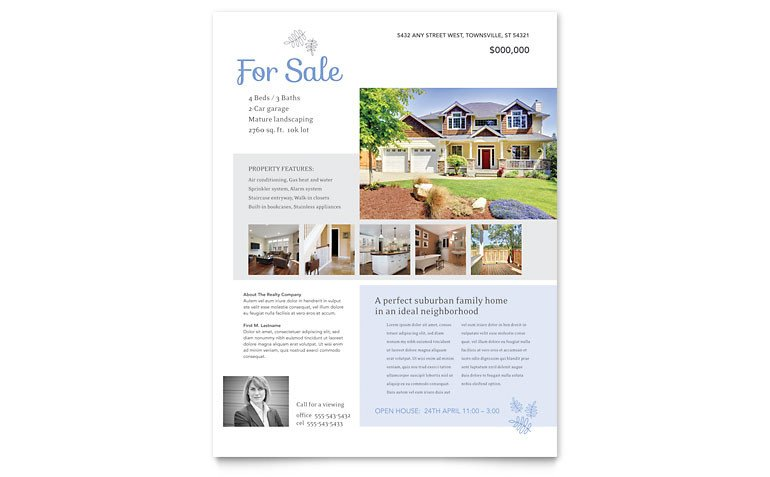 House for Sale Flyer Template Real Estate Listing Flyer Template Word & Publisher
